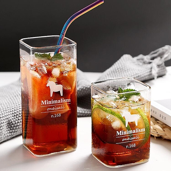 簡約玻璃杯創意透明方形水杯家用牛奶飲料茶杯子【聚寶屋】