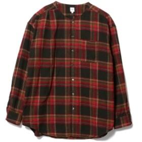 Pilgrim Surf+Supply RANDT / Plaid No Collar Shirt メンズ カジュアルシャツ NVY/WHT Narrow L