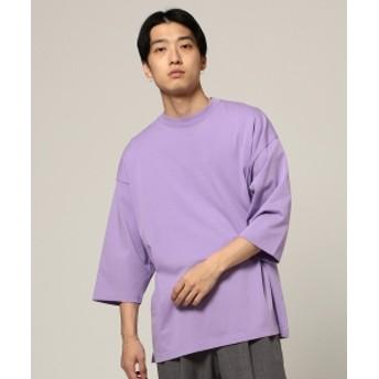 BEAMS BEAMS / シルケット 8分袖 Tシャツ メンズ Tシャツ LAVENDER L