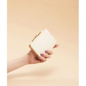 トプカピ イタリアンレザー・リザード型押し・がま口2つ折り財布 レディース クリーム FREE 【TOPKAPI】