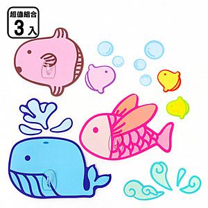 黏樂趣 NELO 卡通造形重複貼掛勾組_三入組鯨魚