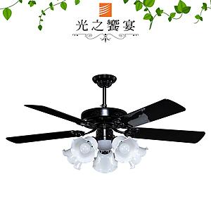 【光之饗宴】52吋 哥倫布/手拉式/5+1燈PC/黑(MIT台灣製造)