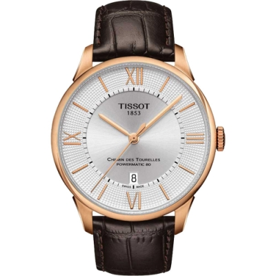 TISSOT 天梭 杜魯爾系列機械動力80手錶 銀x玫瑰金框x羅馬字 42mm T0994073603800