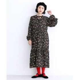 メルロー シフォンフリルフラワーワンピース レディース ブラック FREE 【merlot】