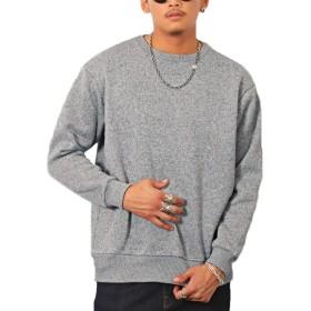 LUX STYLE(ラグスタイル) ニット メンズ フリース セーター 裏起毛 チェック リブ 無地 杢グレーL