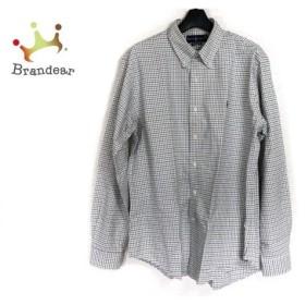 ラルフローレン 長袖シャツ サイズL メンズ アイボリー×ブルー×ブラウン チェック柄  値下げ 20200106