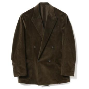 BEAMS F CARUSO / 別注 コーデュロイ ダブルブレスト ジャケット メンズ テーラードジャケット DK. GREEN/0730 46