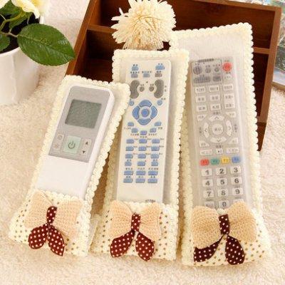 Color_me 【E094】遙控器 保護套 防塵罩 防塵袋 遙控器套 收納袋 布藝 遙控板套 電視 空調 冷氣 蕾絲