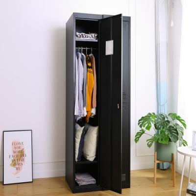 Amos-質感黑砂單門居家衣櫃/辦公衣櫃