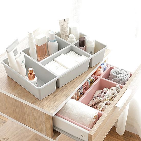 簡約多功能收納盒 桌面 分格 化妝品 塑料 多格抽屜 雜物 整理盒 護膚品【N416】米菈生活館