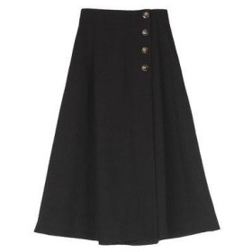 ユアーズ ur's フロントボタンラップフレアスカート (ブラック)