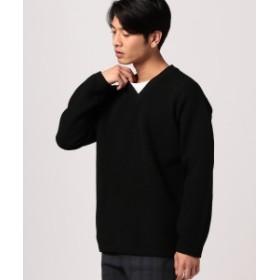 B:MING by BEAMS B:MING by BEAMS / ウォッシュ ドロップ Vネックニットセーター メンズ ニット・セーター BLACK S