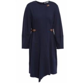 ティビ TIBI レディース ワンピース ミニ丈 ワンピース・ドレス Faux leather-trimmed jersey mini dress Navy