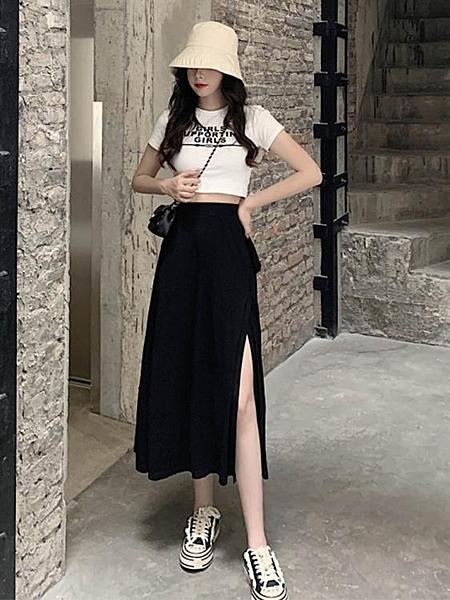 新款超火的裙子黑色側開叉a字裙