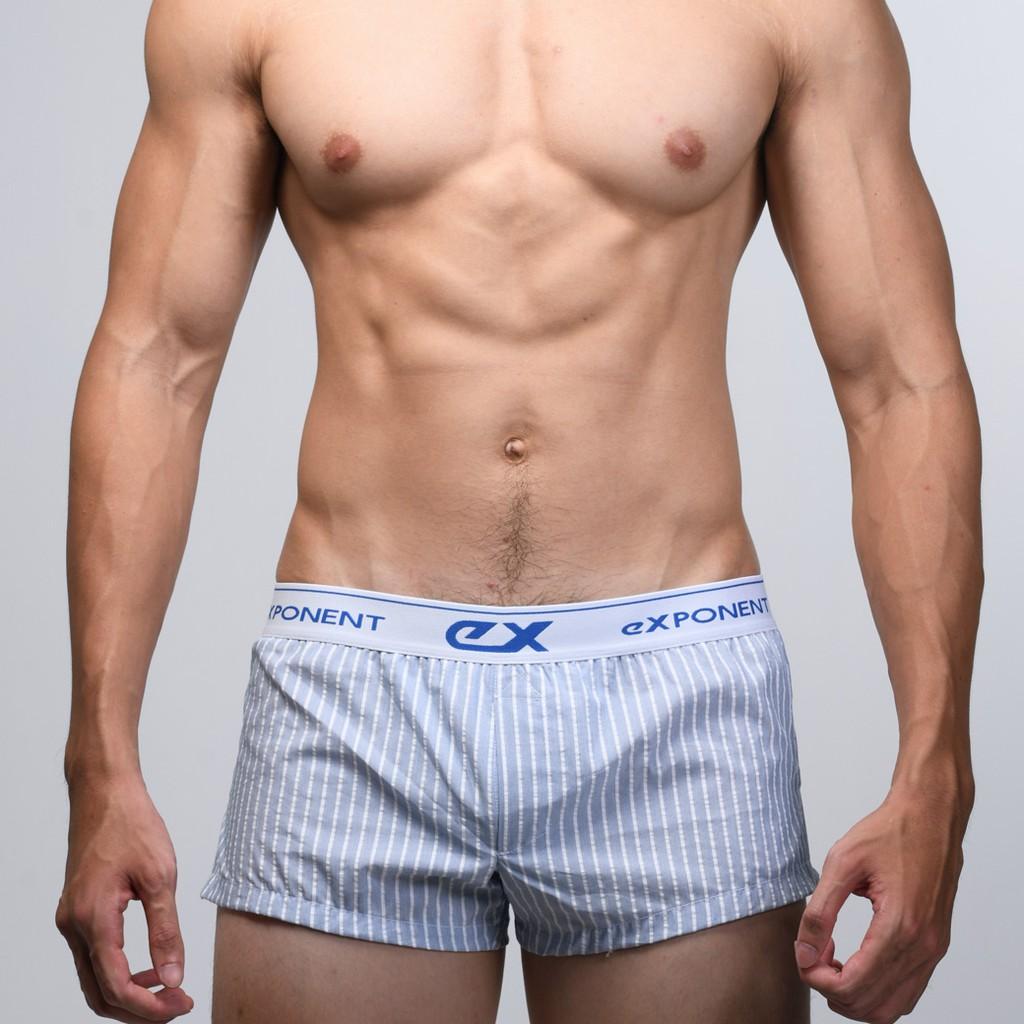 eXPONENT 條紋 純棉 男 平織平口褲 (3D內襯) 藍色