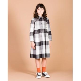 こども ビームス MOTORETA / LILLY ドレス 19(3~11才) キッズ ワンピース BLK & WHT CHK 5y
