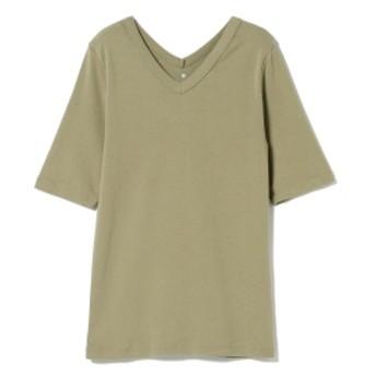EFFE BEAMS three dots / ダブルVネック Tシャツ レディース Tシャツ TOASTED PISTACHIO M