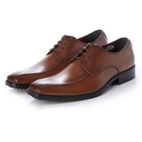 ジーノ Zeeno ビジネスシューズ メンズ スワールモカ ロングノーズ 脚長 紳士靴 レースアップ 外羽根 革靴 (ブラウン)