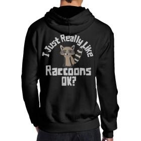 NA Funny Raccoon メンズ 長袖パーカー スウェットシャツ秋と冬 長袖トップス 暖かい カジュアル 男女兼用衛衣 裏刷り