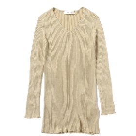Demi-Luxe BEAMS Demi-Luxe BEAMS / シルクリブ Vネックプルオーバー レディース ニット・セーター CHAMPAGNE ONE SIZE