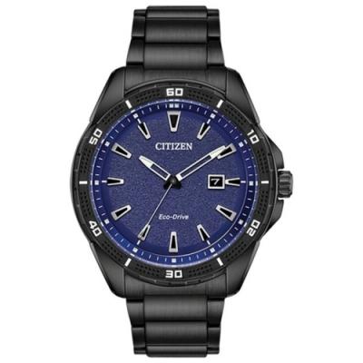 CITIZEN 星辰 光動能 運動風手錶-藍x黑/45mm AW1585-55L