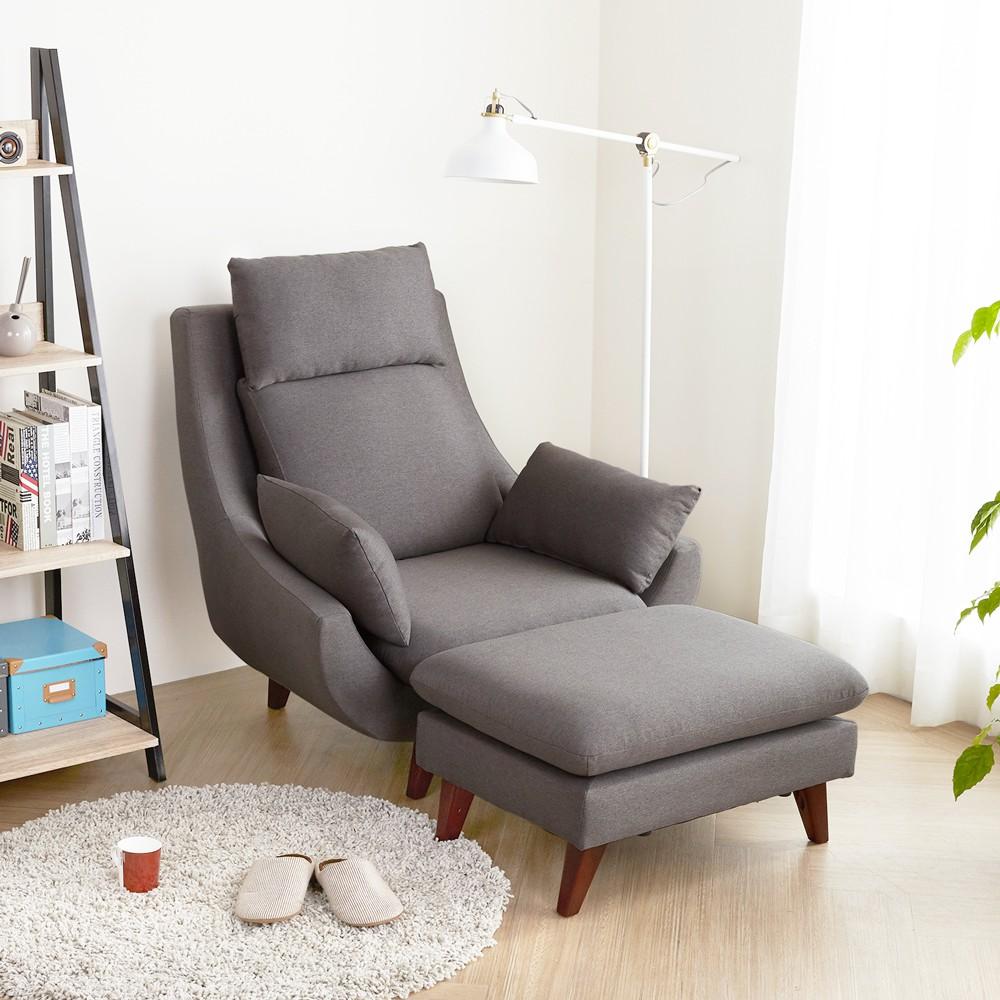 H&D 東稻家居︱達倫現代風高背機能單人沙發組(含腳凳)-2色【HY9421】