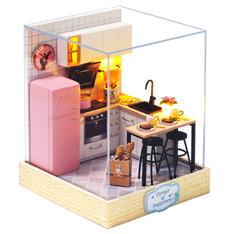 Cutebee Diy小屋袖珍屋 現貨 幸福一閣系列午茶時光創想天地心動時光 防塵罩 迷你屋微景觀娃娃屋 手工製作模型