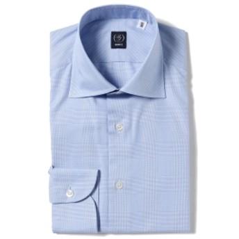 BEAMS F BEAMS F / グレンチェック ツイル ワイドカラーシャツ メンズ ドレスシャツ LT. BLUE/01 38