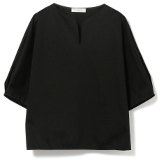 Demi-Luxe BEAMS Demi-Luxe BEAMS / サテン スリットネック プルオーバー レディース カットソー BLACK ONE SIZE