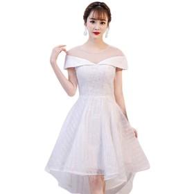 演奏会 結婚式 パーティードレス 二次会衣装 プリンセス sweet 袖あり ロング 優雅 ブライズメイドウェディングドレス (L, ホワイト)