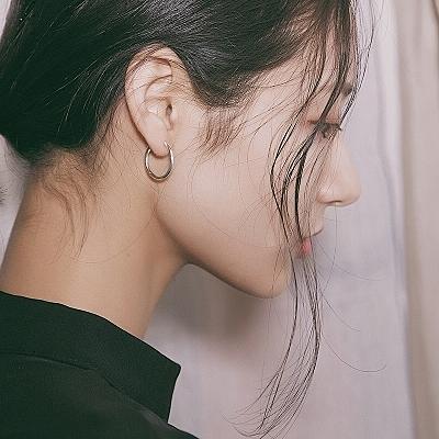耳環 個性S925純銀大小圓圈耳環男女耳圈日韓國簡約氣質耳環女耳釘女【快速出貨】