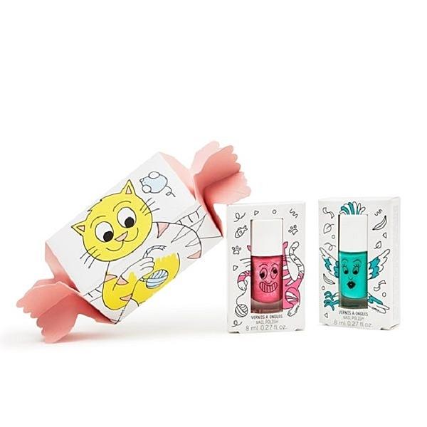 Nailmatic Kids 小貓咪糖果紙盒組 - 凱蒂與里約8mlx2