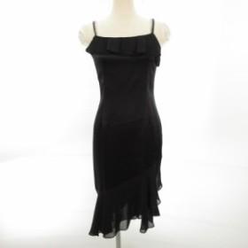【中古】ロートレアモン LAUTREAMONT BLACK キャミワンピース ドレス 膝丈 フリル 黒 1 E234 レディース