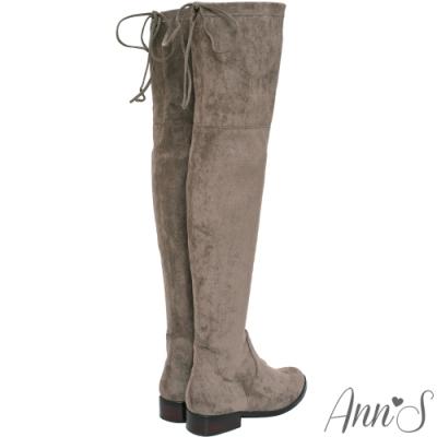 Ann'S 鳥仔版 獨創防滑膠條超窄版過膝靴  可可
