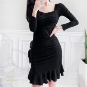韓国ファッション 無地 シンプル ワンピ シック ワンピース 上品 大人 ドレス セクシー 韓国 フィット感 172548センターギャザードレス