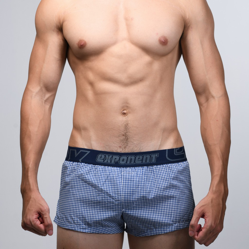 eXPONENT 格紋 純棉 男 平織平口褲 (3D內襯) 藍色