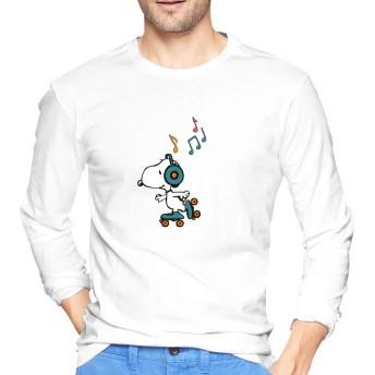 HAH Tシャツ 長袖 ゆったり SNOOPY プリント おしゃれ メンズ 無地 綿 青年 快適 丸襟 冬 メンズシャツ レディースシャツ White S