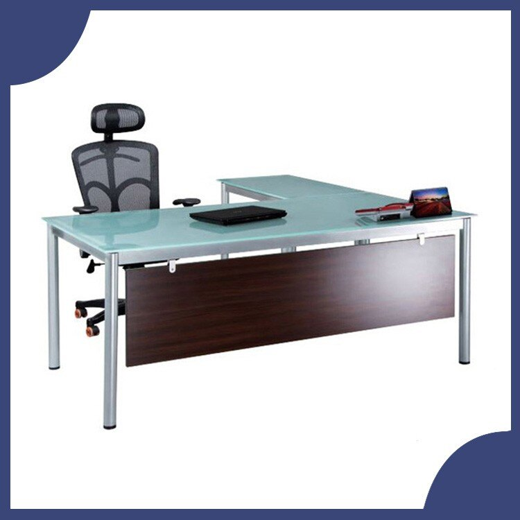 【屬過大商品,運費請先詢問】辦公家具 TSB-18090MG+TSB-9050MG主管桌(霧玻) 烤銀  辦公桌 書桌 桌子