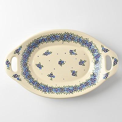 波蘭陶 春與花語系列 雙耳長形深餐盤 32.5cm 波蘭手工製