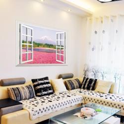 【半島良品】DIY無痕創意牆貼/壁貼-假窗粉色花海 AY9234A大