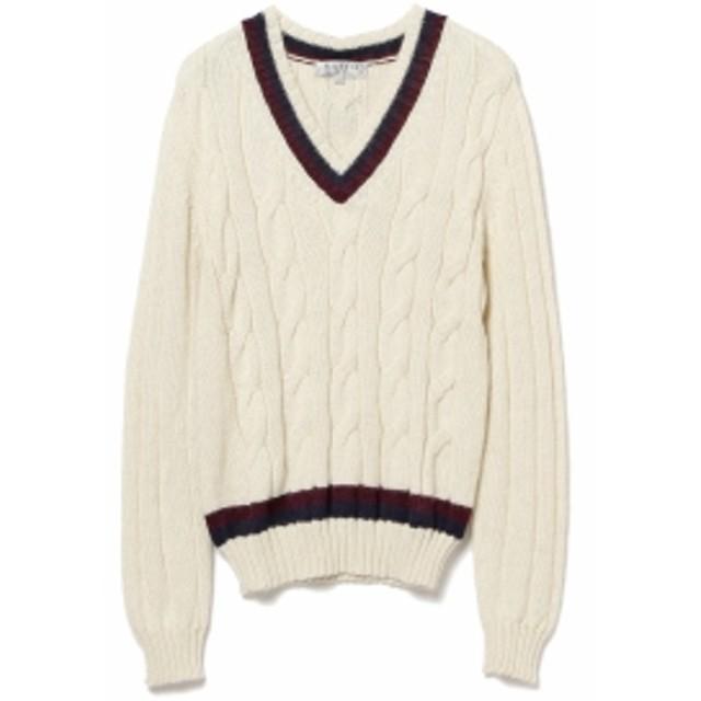 BEAMS F RAffa MOLINA / 別注 アルパカ チルデン Vネックニット メンズ ニット・セーター WHITE/NAVY/WINE L