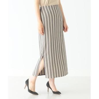 Demi-Luxe BEAMS Demi-Luxe BEAMS / ストライプ スリットタイトスカート レディース その他スカート BEIGE 38