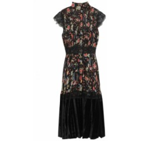 ミカエル アガール MIKAEL AGHAL レディース ワンピース ワンピース・ドレス Velvet-paneled lace-trimmed pintucked floral-print crepo