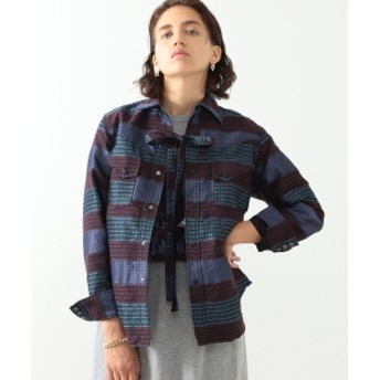 BEAMS BOY maturely / Denim & Jacquard Western レディース カジュアルシャツ PURPLE ONE SIZE