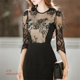 レディース 韓国 イベント ドレス パーティー 韓国ファッション ワンピース ワンピ 韓国スタイル トレンド 172548シースルータイトドレス