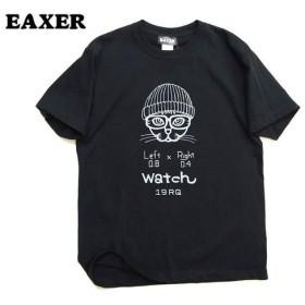 ネコTシャツ 猫t EAXER ワッチCAT 半袖Tシャツ 男女兼用 ブラックS KT-19001