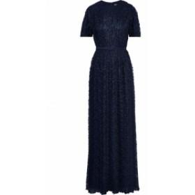ミカエル アガール MIKAEL AGHAL レディース パーティードレス ワンピース・ドレス Belted pleated lace gown Navy