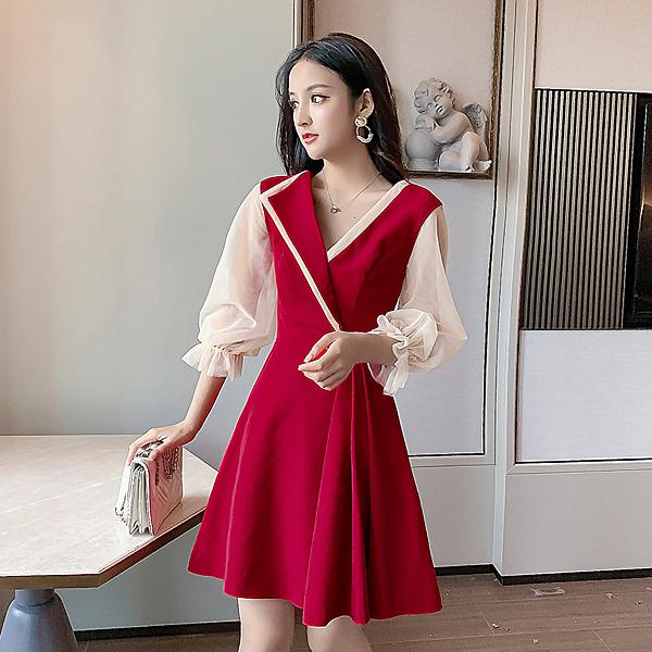 絕版出清 韓系優雅荷葉網紗袖西裝V領小禮服長袖洋裝