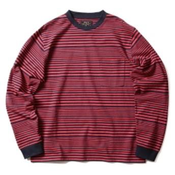 BEAMS PLUS BEAMS PLUS / ボーダーポケットTシャツ メンズ Tシャツ RED XL
