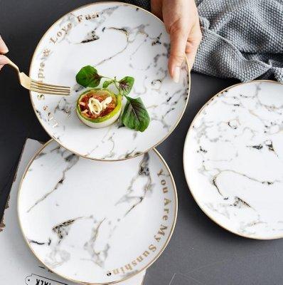 【SG366】大理石紋盤子 早餐盤 陶瓷盤 字母餐盤 個性西餐沙拉圓盤 歐式菜盤子 意麵盤 牛扒盤